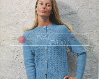 "Lady's Raglan Jacket 34-40"" 4-ply Sirdar 2310 Vintage Knitting Pattern PDF instant download"