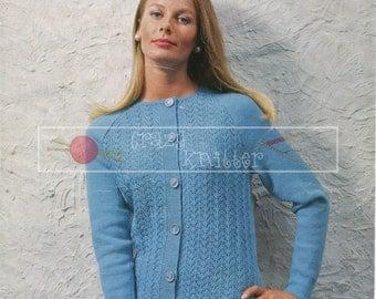 "Lady's Raglan Jacket 34-40"" 4-ply Sirdar 2310 Vintage Knitting Pattern PDF instant download"