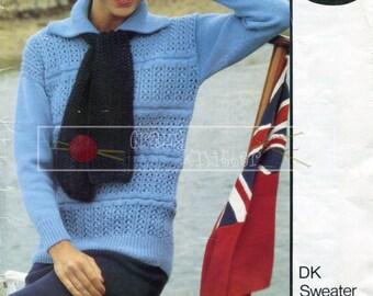 "Lady's Sweater Cap Scarf 32-40"" DK Sirdar 6010 Vintage Knitting Pattern PDF instant download"