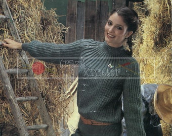 Lady's Sweater DK 32-40ins Sirdar 5953 Vintage Knitting Pattern PDF instant download