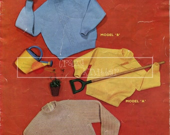 Boy's and Girl's Jerseys 4-ply 2-6 years Sirdar 201 Vintage Knitting Pattern PDF instant download
