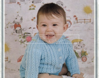 Baby Cardigan  3ply 4ply DK 18-20in. Hayfield 1178 Vintage Knitting Pattern PDF instant download