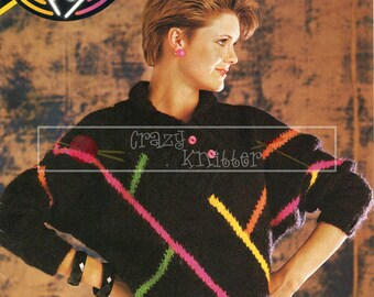 Teen Lady's Abstract Sweater 30-38in Mohair Patons 7724 Vintage Knitting Pattern PDF instant download