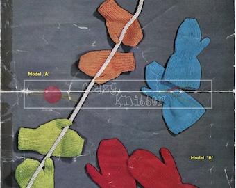 Childrens Mittens 2-13 years DK Sirdar 681 Vintage Knitting Pattern PDF instant download