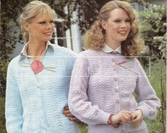 "Lady's Lace Sweater 32-40"" DK Sirdar 6308 Vintage Knitting Pattern PDF instant download"