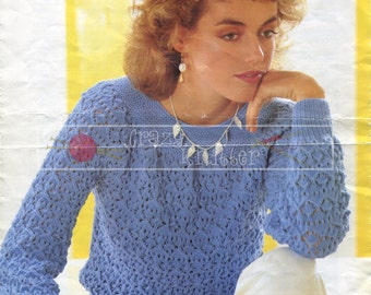 """Lady's Lace Sweater 32-40"""" DK Sirdar 6308 Vintage Knitting Pattern PDF instant download"""