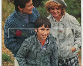Family Cardigan Zipped 26-42in Chunky Patons 1560 Vintage Knitting Pattern PDF instant download