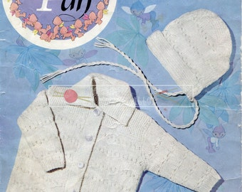 "Baby Coat and Bonnet DK 18-20"" Peter Pan P257 Vintage Knitting Pattern PDF instant download"