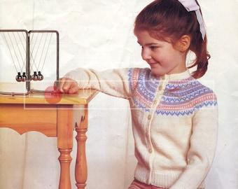 Girl's Fairisle Cardigans DK 24-28in Sirdar 4395 Knitting Pattern PDF instant download