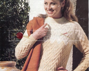 Lady's Patterned Sweater 32-42in DK Patons 1958  Vintage Knitting Pattern PDF instant download