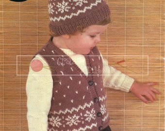 "Baby Sweater Waistcoat and Cap 20-22"" DK Sirdar 3369 Vintage Knitting Pattern PDF instant download"