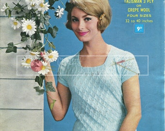"Lady's Summer Jumper 3-ply 32-40"" Sirdar 1824 Vintage Knitting Pattern PDF instant download"