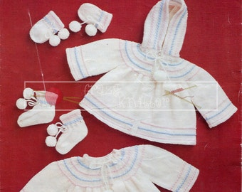 "Baby Pram Set 12-18"" 4-ply Sirdar 3304 Vintage Knitting Pattern PDF instant download"