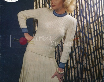 "Lady's Sweater & Skirt DK 32-40"" Sirdar 6468 Vintage Knitting Pattern PDF instant download"