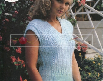Lady's Summer Top DK 30-42ins incl Teen Sizes Sirdar 6502 Vintage Knitting Pattern PDF instant download