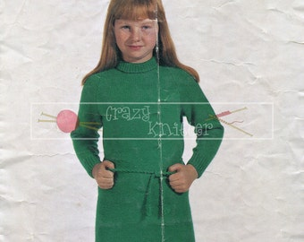 Girl's Shift Dress DK 6-10 years Sirdar 746 Vintage Knitting Pattern PDF instant download