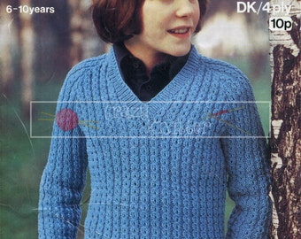 Children's Mock Cable Sweater  4-ply DK 26-30in Sirdar 4200 Vintage Knitting Pattern PDF instant download