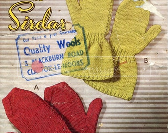 Childrens Mittens 2-13 years DK Sirdar 529 Vintage Knitting Pattern PDF instant download
