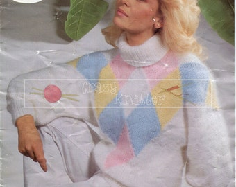 "Lady's Sweater 32-42"" Chunky Sirdar 6489 Vintage Knitting Pattern PDF instant download"