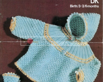Baby Hooded Coat & Bootees DK 18-19ins Sirdar 3147 Vintage Knitting Pattern PDF instant download