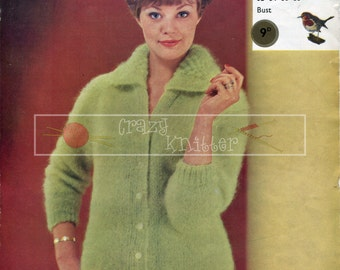 "Lady's Cardigan with Collar Mohair 32-38"" Robin 1218 Vintage Knitting Pattern PDF instant download"