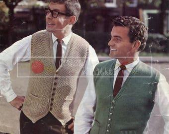 Men's Waistcoats 44-50in DK Patons 9279 Vintage Knitting Pattern PDF instant download