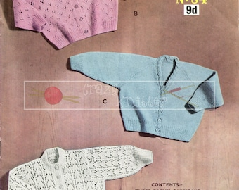 Baby Cardigans 1 years 3ply Sirdar 84 Vintage Knitting Pattern PDF instant download