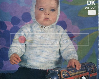 "Baby Hooded Sweater DK 20-22"" Sirdar 3249 Vintage Knitting Pattern PDF instant download"