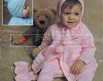 Baby Pram Set 18-20in DK Patons 1410 Vintage Knitting Pattern PDF instant download