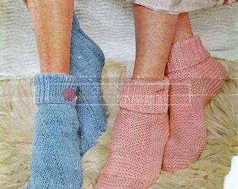 Bed Socks DK Sizes Adjustable Lee Target 6307 Vintage Knitting Pattern PDF instant download