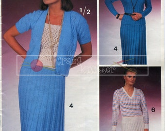 "Lady's Sweater Top Cardigan Skirt Dress 32-40"" 4-ply Sirdar E177 Vintage Knitting Pattern PDF instant download"