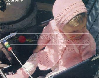 Baby Pram Set 18in DK Patons 2429 Vintage Knitting Pattern PDF instant download