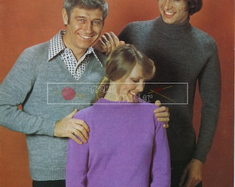 Unisex Classic Sweaters 4-ply 34-44in Patons 1164 Vintage Knitting Pattern PDF instant download
