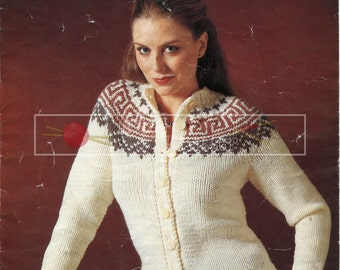 "Lady's Jacket 32-38"" Chunky Sirdar 6279 Vintage Knitting Pattern PDF instant download"