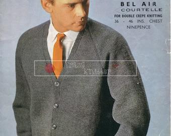 Men's Raglan Cardigan DK 36-46ins Lister 1637 Vintage Knitting Pattern PDF instant download