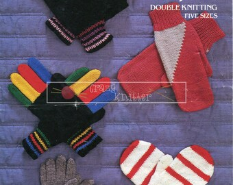 Gloves and Mitts Hand Sizes 14-20cm DK Emu 6767 Vintage Knitting Pattern PDF instant download
