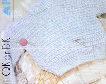 Baby Textured Sweater 41-51cm 16-20in DK Patons 8024 Vintage Knitting Pattern PDF instant download