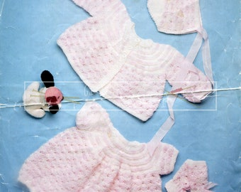 Baby Layette 46cm 18in DK Patons 7104 Vintage Knitting Pattern PDF instant download