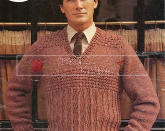 "Men's Sweater 36-44"" Chunky Sirdar 6383 Vintage Knitting Pattern PDF instant download"