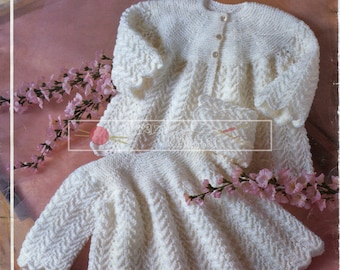 """Baby Dress and Coat 4-ply and DK 16-20"""" Phildar 417 Vintage Knitting Pattern PDF instant download"""