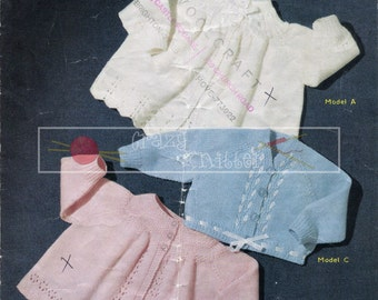 Baby Matinee Coats 3-6 months 4ply Sirdar 278 Vintage Knitting Pattern PDF instant download