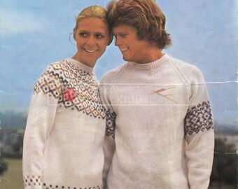Unisex Fairisle Sweaters DK 32-41in Lee Target 8988 Lee Target 8988 Vintage Knitting Pattern PDF instant download