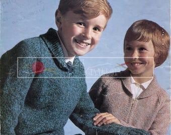 Children Lumber Jacket 6-10 years DK Sirdar 701 Vintage Knitting Pattern PDF instant download