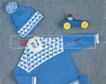 "Baby Sweater Cap Mittens 20-23"" DK Sirdar 3294 Vintage Knitting Pattern PDF instant download"