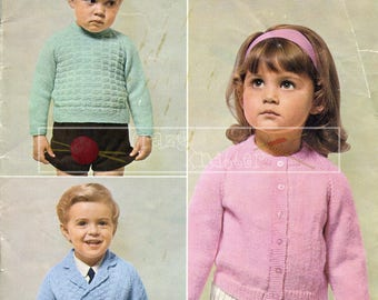 Baby Cardigans and Sweater 20-22in DK Patons 6003  Vintage Knitting Pattern PDF instant download
