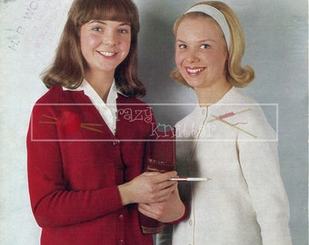Teenage Cardigan 12-16 years 4ply Sirdar 726 Vintage Knitting Pattern PDF instant download
