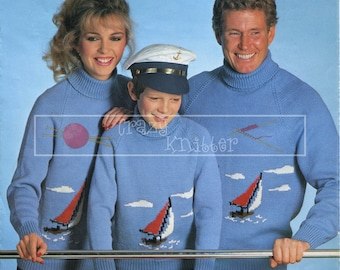 "Family Motif Sweater 24-46"" DK Sirdar 6287 Vintage Knitting Pattern PDF instant download"