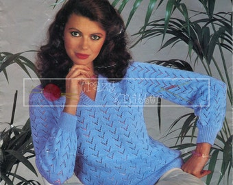 Lady's Lacy Sweater 4-ply 32-38in Sirdar 6171 Vintage Knitting Pattern PDF instant download