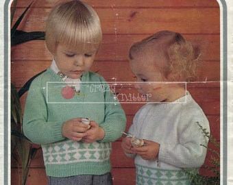 Toddler Sweaters 4ply 21-22in. Hayfield 1221 Vintage Knitting Pattern PDF instant download