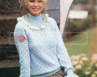 Lady's Romantic Lacy Sweater 32-40in DK Patons 7054  Vintage Knitting Pattern PDF instant download